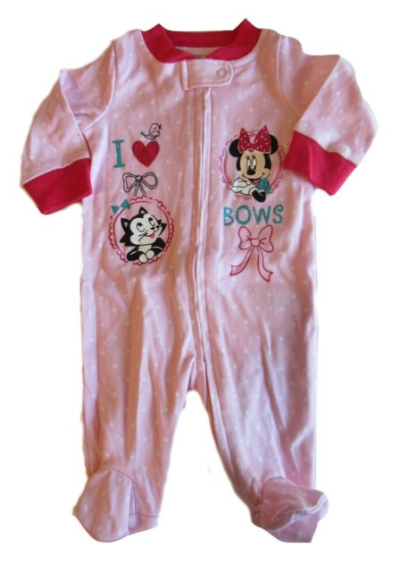 203e518901 Disney Baby Minnie Mouse Girls Pink Sleeper Footie 0-3 Months I Love Bows