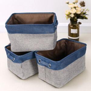 3Pcs-Linen-Fabric-Storage-Baskets-Foldable-w-Handle-Toy-Clothes-Organizer-Boxes