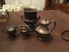 Vintage Sheridan Silver Over Copper Wine/Ice bucket, Teapot, Sugar & Creamer