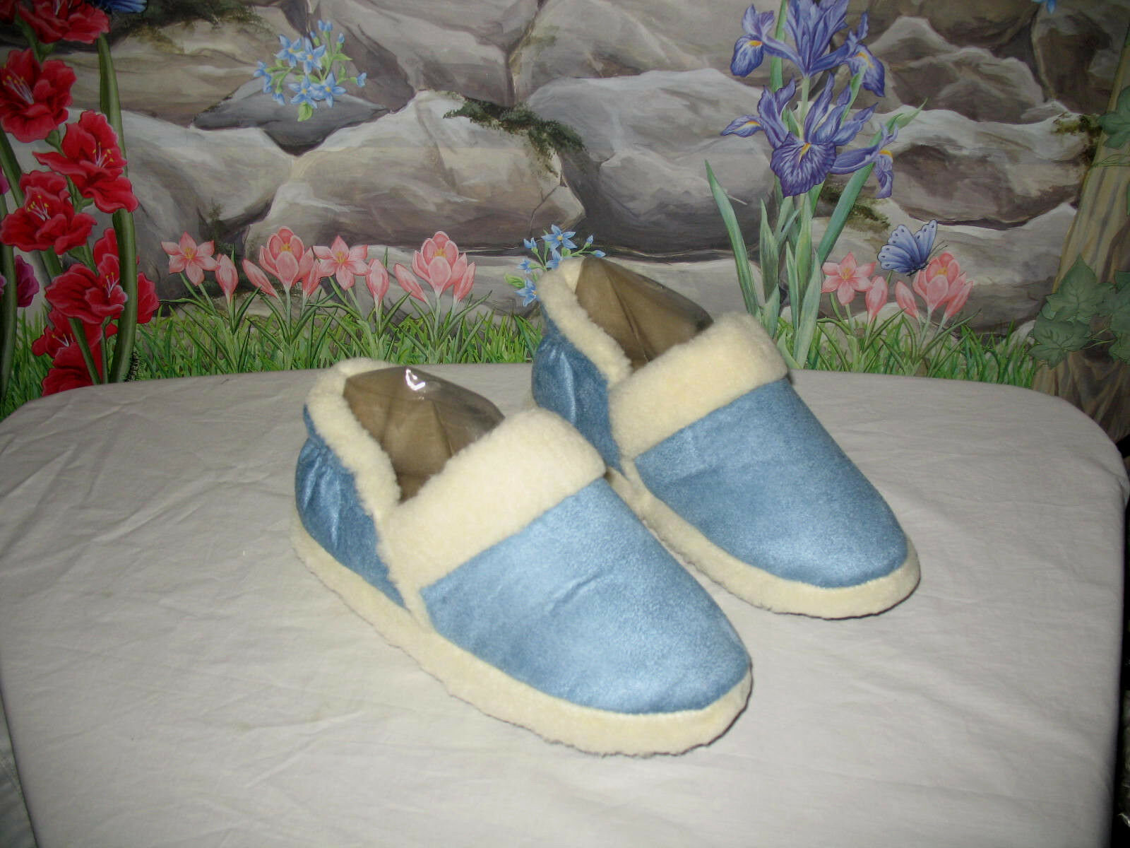 New Blue Micro Suede Bootie Slippers w Fleece Lining sz XL fits 9.5 -10.5