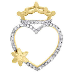 10K-Yellow-Gold-Round-Diamond-Heart-Crown-Sun-Flower-Pendant-0-90-034-Charm-1-4-CT