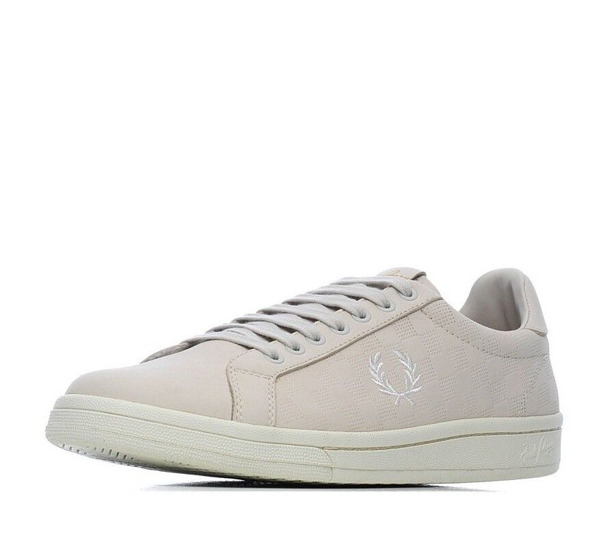 Fred Perry Men's Checkerboard Nubuck Leather Trainers Shoes B1201-254 Porcelain