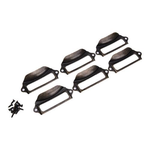 6xAntike Messing Schubladenetikett Pull Cabinet Frame Griff Name Kartenhalt CBL