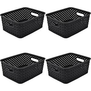 Resin Wicker Storage Tote Plastic Bins Basket Weave Handles Black Set Of 1,2,3,4