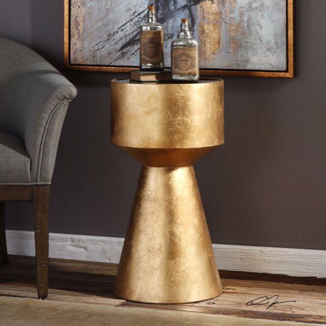 Modern Urban Decor 26 Metallic Gold Leaf Pedestal Accent End Table Black Gl