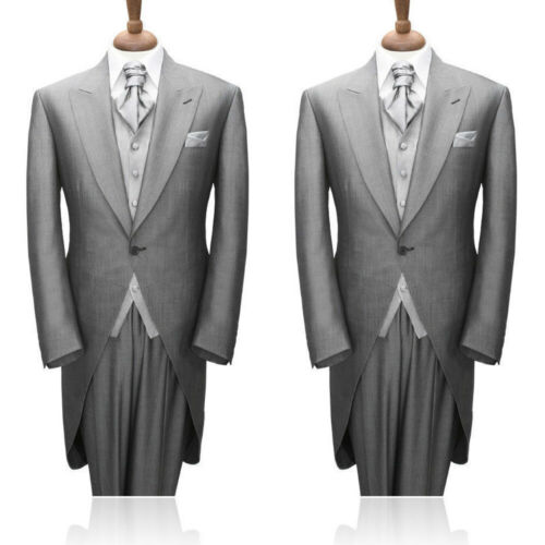 Gris-Groom Best Man Smoking Formelle Mariage Matinée Suit Men/'s Long Manteau