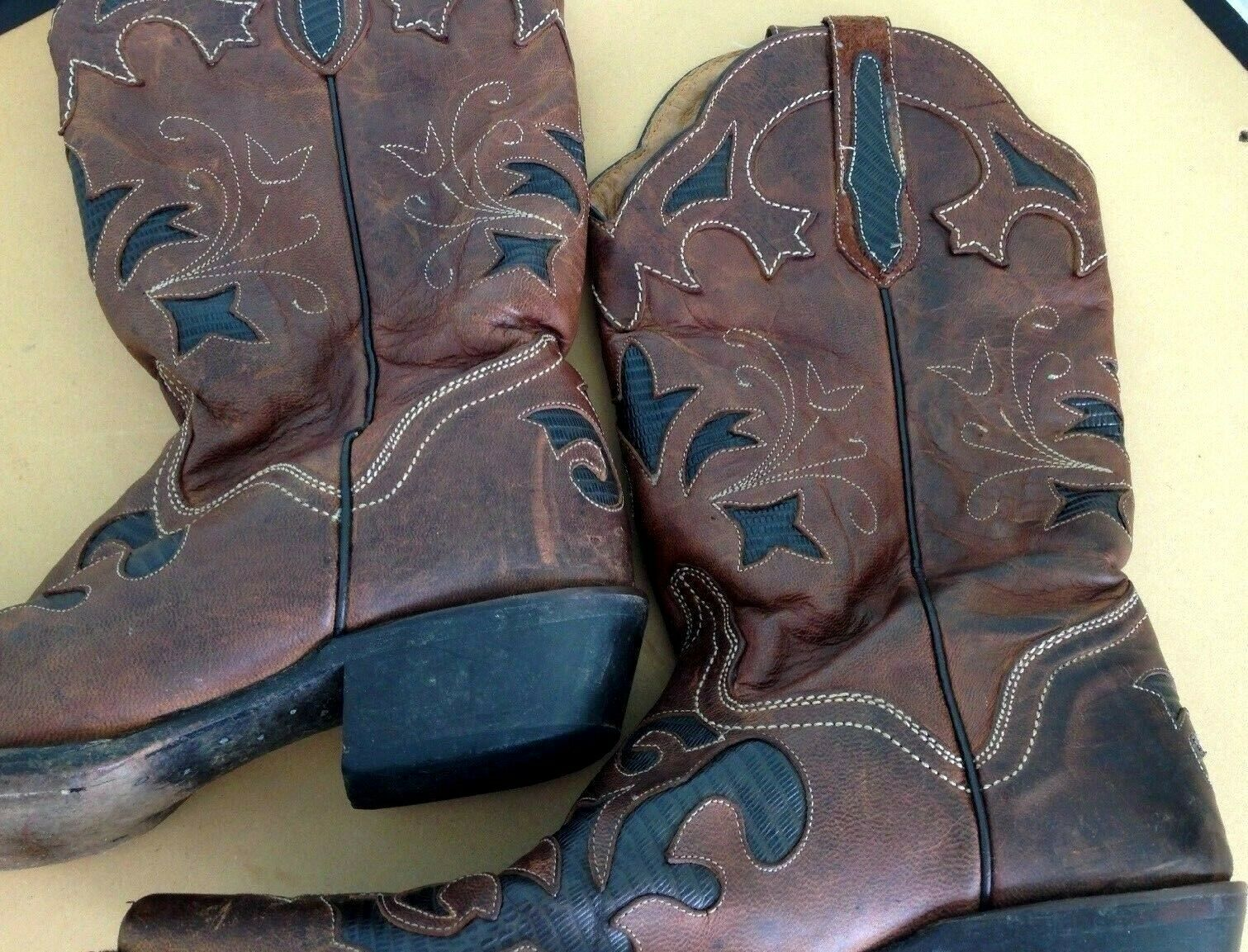 Women's Size 8 8 1 2 B Brown Brown Brown Tan J B Dillon  Western Boots Goat Skin Leather 13  832e1a