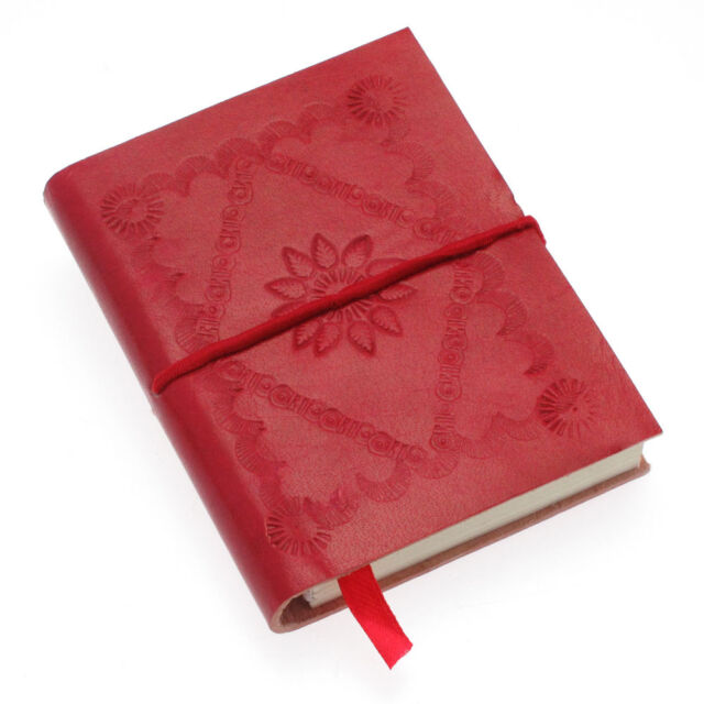 Fair Trade Handmade Small Crimson Red Embossed Leather Notebook - 2nd Quality