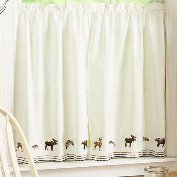 New Lodge Embroidered Wildlife Kitchen Curtain Tier Pairs Valance Or Swag Pr For Sale Online