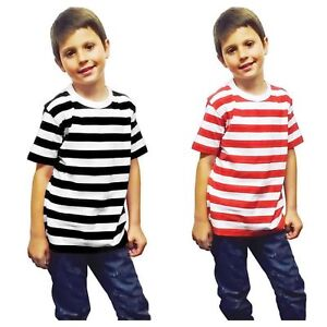 Unisex Kids Classic Red Black And White Stripe T.Shirt Crew Neck Top Size (3-13)