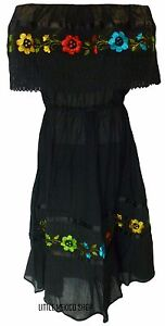 ASSORTED-MEXICAN-DRESS-CROCHET-Embroidered-PEASANT-Vintage-ONE-SIZE-Fits-M-XL