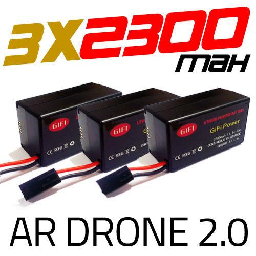 3 x 2300mah mise à niveau massive batterie batterie batterie de rechange pour parrot ar drone 2.0 batterie 3eb465