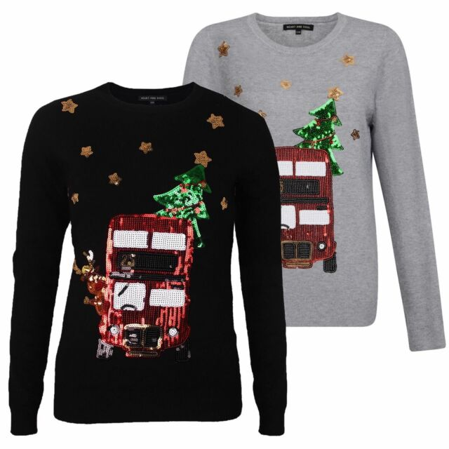 a6388212719 Womens Ladies Girls Reindeer Bus Christmas Novelty Funny Jumper Xmas Sweater