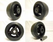 5 X 2 Rubber Caster Wheels Steel Hub With Roller Brg Amp 12 Bushing 400lb Ea 4