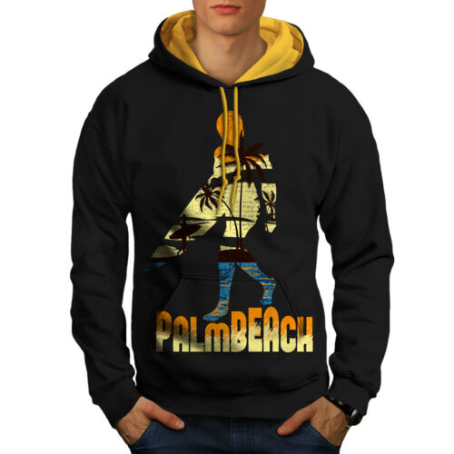 Surf à Holiday capuche Sweat à hommes Sun contrastant doréBeach capuche Blacksweat New bf6Ygvy7