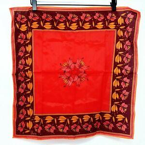 Vera-Neumann-Vintage-Scarf-Red-Burgundy-Floral-Flowers-Square-Kerchief-Wrap-70s