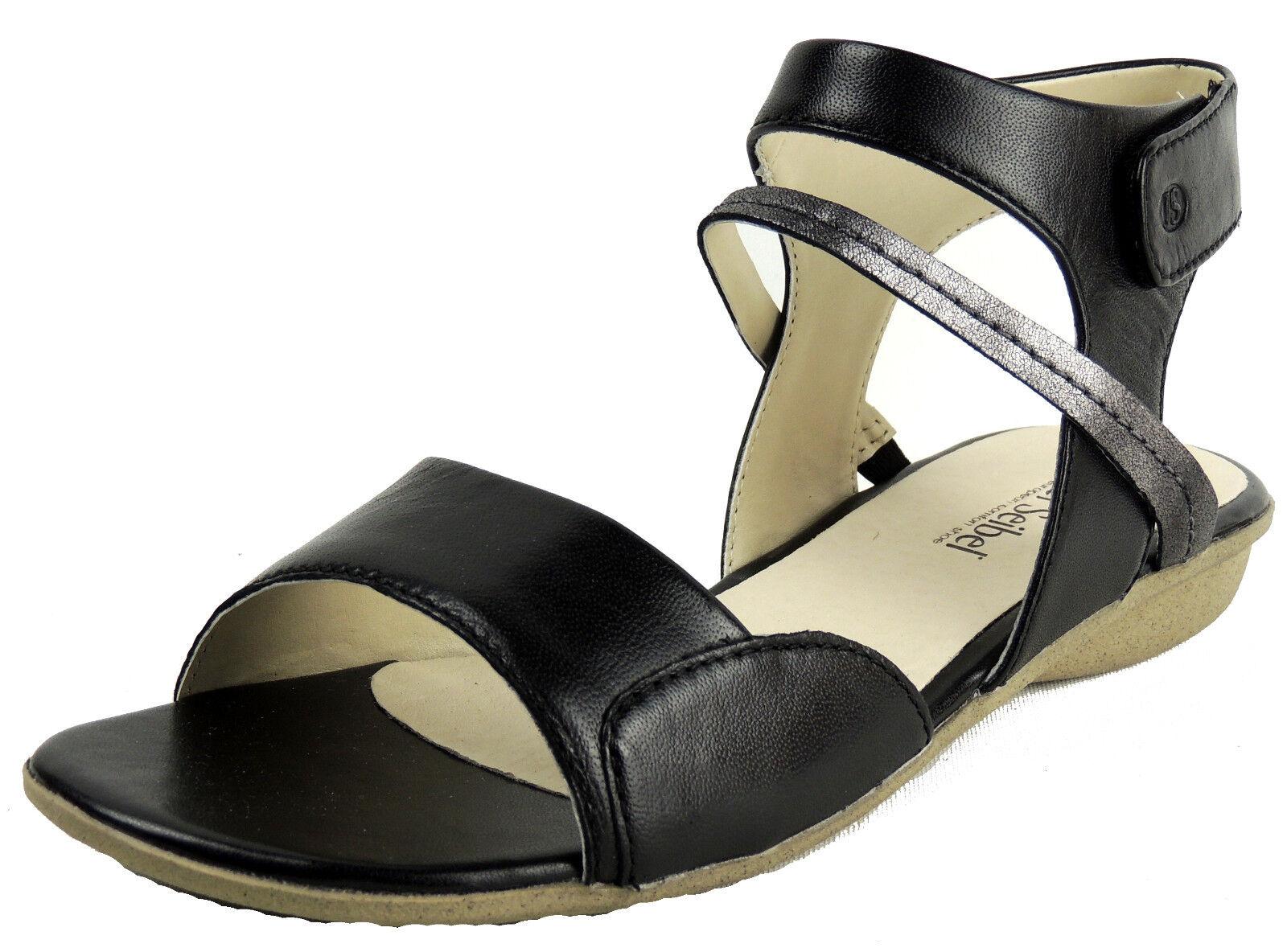 Josef Seibel Femmes Sandale Velcro Noir Argent Cuir