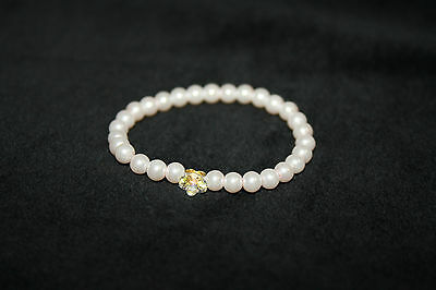 Tina/&Co Pearl Baby Bracelet Baby Girl Bracelet Pearl Baby Pearl Bracelet Baby Pearl Bracelet Baptism Cross with Initial