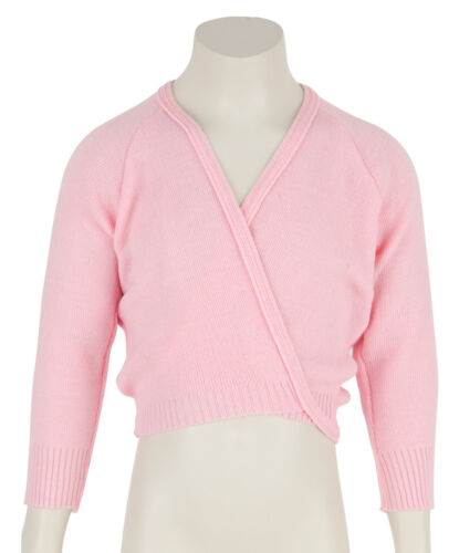Girls Childrens Pale Pink Ballet Dance Crossover Wrap Cardigan All Sizes By Katz