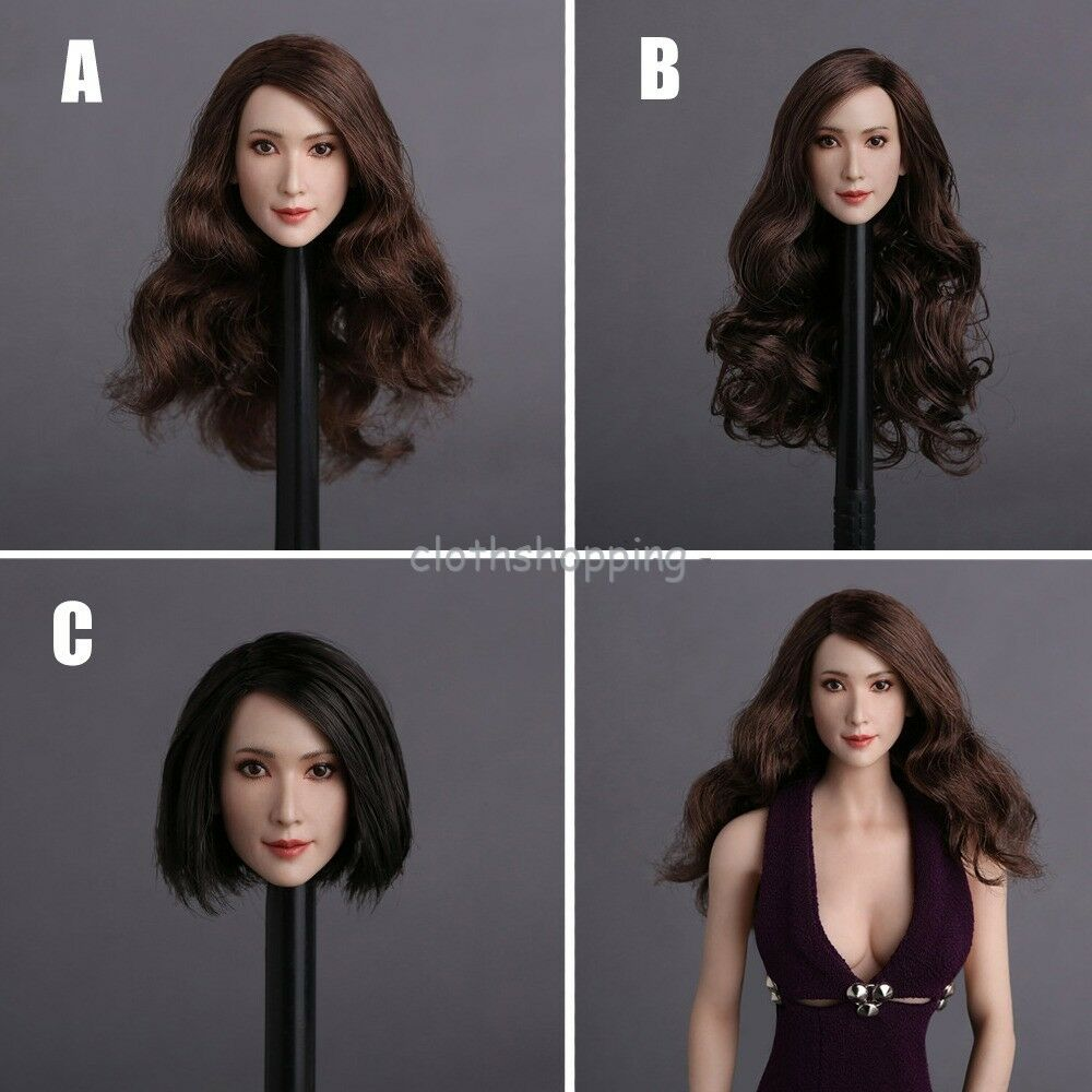 GACTOYS 1 6 Asia Beauty Women Carved Head Sculpt GC008 For 12'' Body Figure Doll