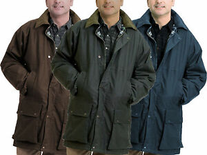 Mens Padded Wax Jacket British Waxed Coat 100% Waxed Cotton Warm Country S-5XL