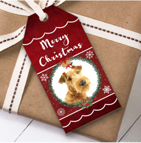 Present Favor Labels Irish Terrier Dog Christmas Gift Tags