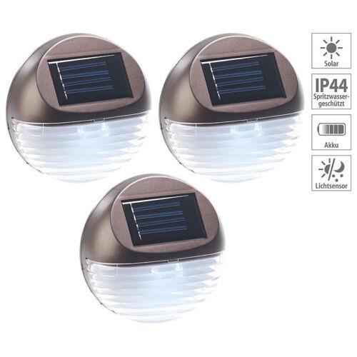Lichtsensor IP44 Lunartec 3er-Set Solar-LED-Zaunleuchte für Hauswand /& Treppe