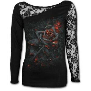 Spiral-Direct-BURNT-ROSE-Long-Sleeved-Lace-Goth-Ladies-Roses-Gothic-Top-Tee-Girl