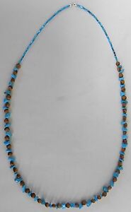 Navajo-Ghost-Cedar-Beads-Juniper-Berry-Blue-Turquoise-nuggets-30-inch-Necklace