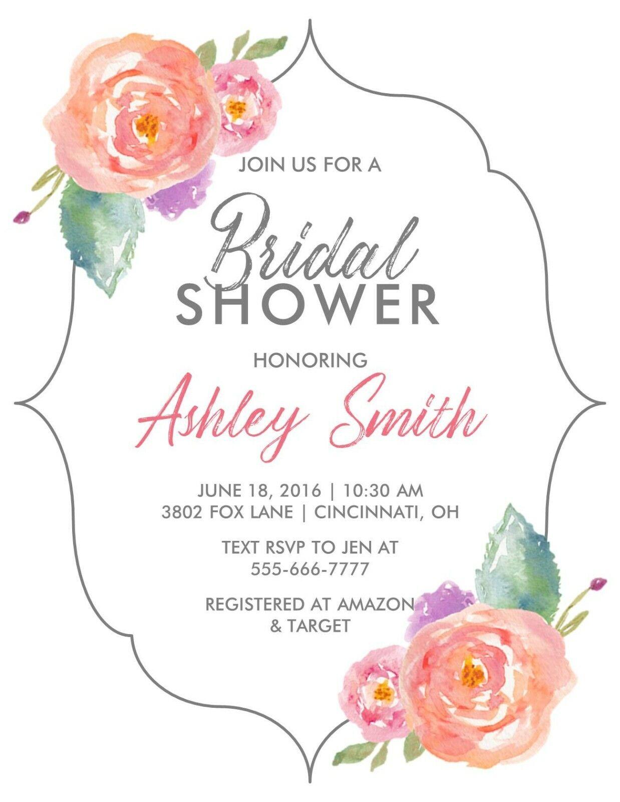 Bridal Wedding Shower Invitation Watercolor Floral Shape for sale online
