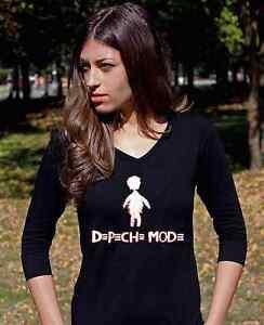 DEPECHE MODE LOGO Langarm 3 4 damen lady Black T-shirt Shirt Rock ... 43f12330fb
