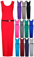 Womens Plain Sleeveless Ladies Belted Stretch Long Full Jersey Vest Maxi Dress