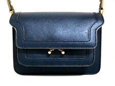 Authentic MARNI Navy Mini Trunk SBMPS01U02LV520 Leather Shoulder Bag w/ Dust Bag