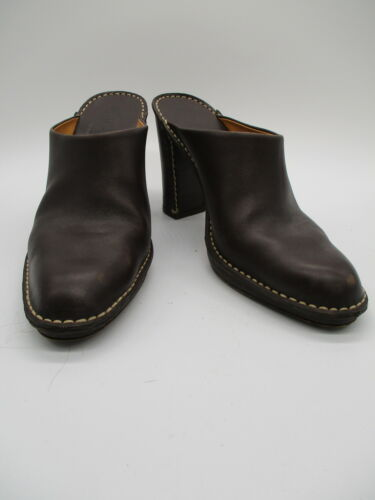 TODS brown leather block heel mules sz 40.5