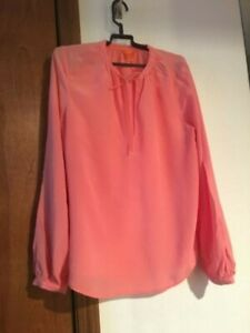 5794b0ad196bf Joe Fresh 100% Silk Coral Women Top Blouse Tie Neck Size S P RN ...