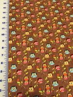 Happy Flapper Woodsie Owls On Brown Cotton Fabric Per Yd 44 Quilt Sew Craft