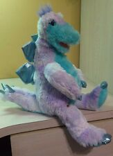 "Build A Bear BAB Dinosaur Dragon Pastel Blue & Purple Metallic Toes Plush 19"""