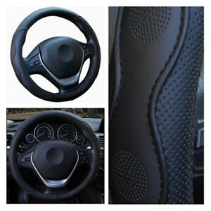 37-38cm-Black-PU-Leather-Car-Steering-Wheel-Cover-Comfortable-Skid-proof-No-Fade