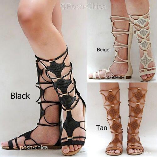 New Women IA28 Black Tan White Beige Strappy Gladiator Mid-Calf Tall Sandals