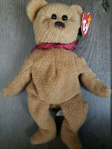 curly the bear beanie baby brown bear black eyes brown nose version 1993 P.E pellets beanie babies by ty