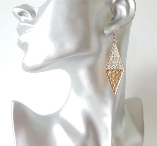 Hermosa 5 Cm De Largo Tono Oro /& Diamante Forma de Diamante Pendientes geométrica
