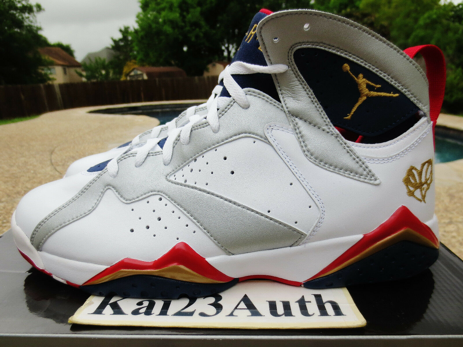 DS Air Jordan 7 Retro Olympic White/MTLLC Gold-TR-Red MID NVY US Men Size 12