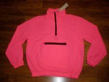 NEW Vtg 80s Vanderbilt Neon Pink SMALL windbreaker TRACK SUIT Pullover Jacket S