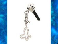 BUTTERFLY Crystal Earphone Jack Dust Plug Cover for Cell phone Iphone Android