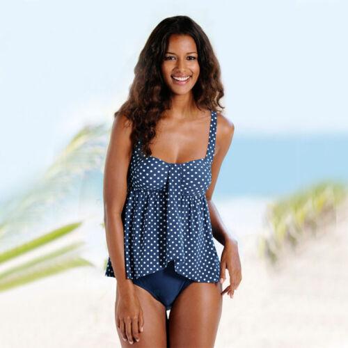 Damen Getupft Schwimmanzug Tankini Set Badeanzug Bikini Bademode Cropped Tops 44