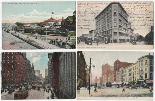 SUPER Postcard LOT of 4 Railroad Trains Trolleys Rochester NY 190710 RR