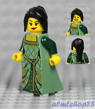 LEGO - Female Minifigure w/ Sand Green Dress & Black Hair Princess Girl Castle