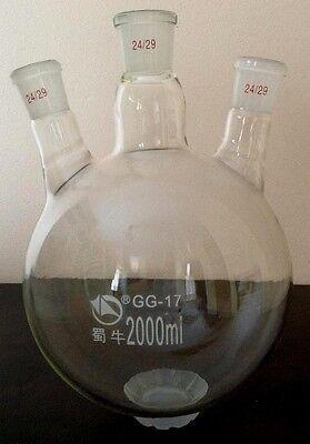 Flask 2000ML  Flask, Round Bottom, Three Necks,Oblique, Grinded 24/29 24/29