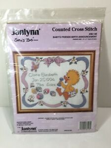 Janlynn-Suzy-039-s-Zoo-14-034-x-11-034-Vintage-Counted-Cross-Stitch-Kit-NIP-14-Count-Aida