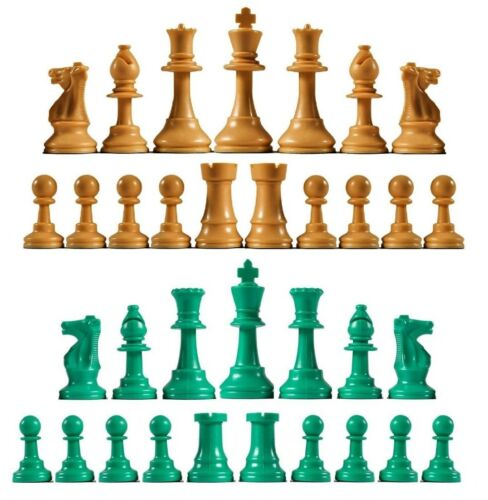 Full Set 34 Green /& Orange 4 Queens Staunton Triple Weighted Chess Pieces